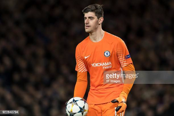Goalkeeper Thibaut Courtois of Chelsea controls the ball during the UEFA Champions League Round of 16 First Leg match between Chelsea FC and FC...