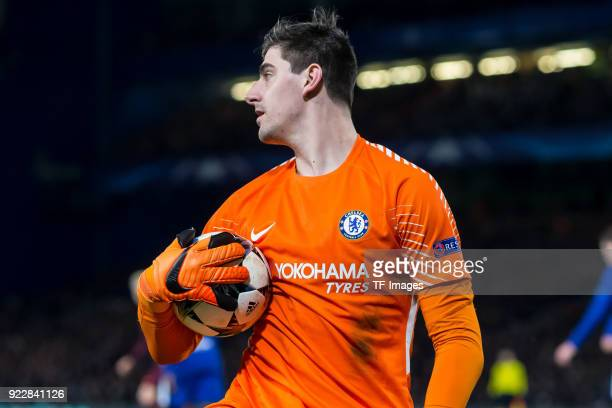 Goalkeeper Thibaut Courtois of Chelsea looks on during the UEFA Champions League Round of 16 First Leg match between Chelsea FC and FC Barcelona at...