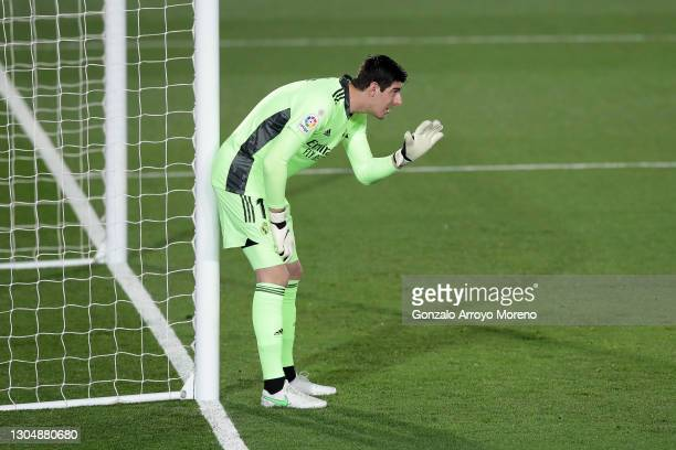 Goalkeeper Thibaut Courtois of Real Madrid CF gives instructions during the La Liga Santander match between Real Madrid and Real Sociedad at Estadio...