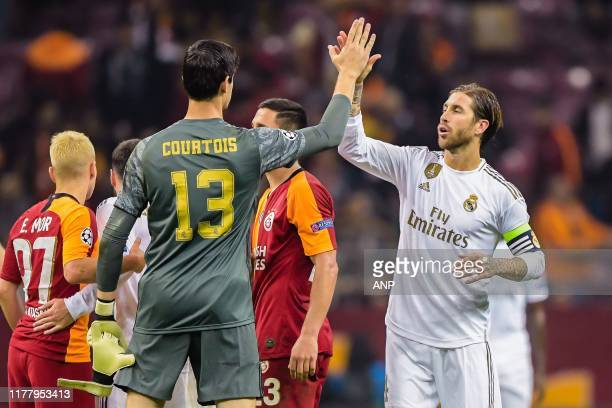 goalkeeper Thibaut Courtois of Real Madrid CF Sergio Ramos Garcia of Real Madrid CF during the UEFA Champions League group A match between...