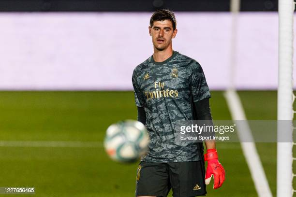 Goalkeeper Thibaut Courtois of Real Madrid in action during the Liga match between Real Madrid CF and Villarreal CF at Estadio Alfredo Di Stefano on...