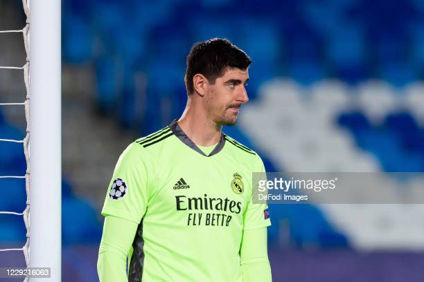 Goalkeeper Thibaut Courtois of Real Madrid looks on during the UEFA Champions League Group B stage match between Real Madrid and Shakhtar Donetsk at...