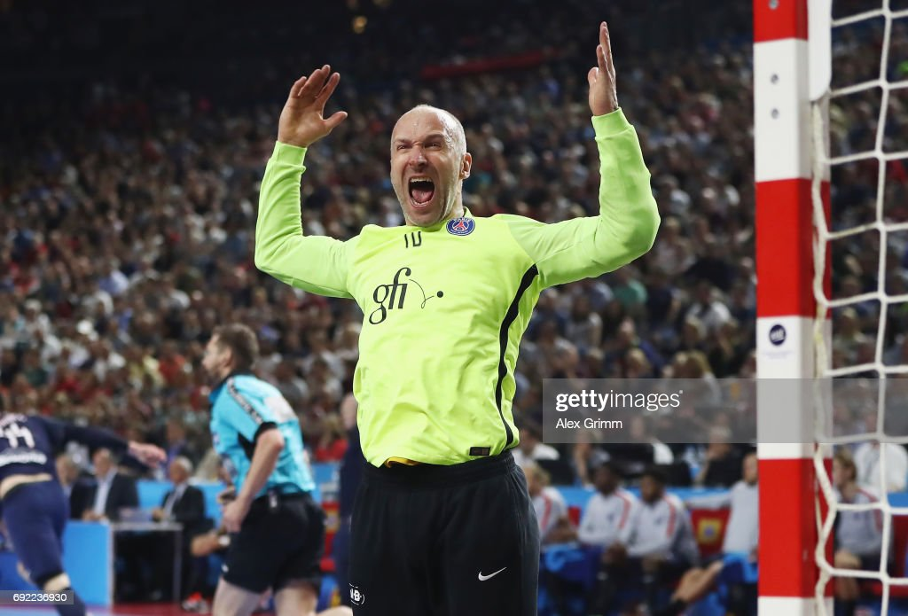 Goalkeeper Thierry Omeyer of Paris reacts fter a save during the VELUX EHF FINAL4 final between Paris Saint-Germain Handball and HC Vardar at Lanxess Arena on June 4, 2017 in Cologne, Germany.