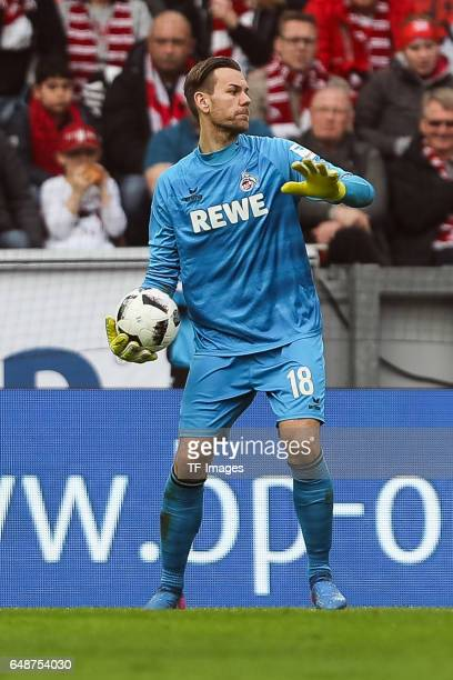 Goalkeeper Thomas Kessler of Cologne controls the ball during the Bundesliga match between 1 FC Koeln and Bayern Muenchen at RheinEnergieStadion on...