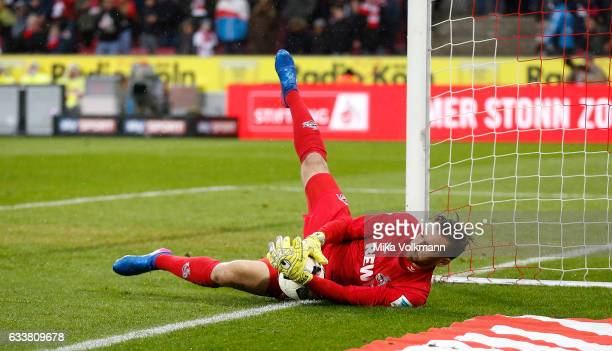 Goalkeeper Thomas Kessler of Cologne in action during the Bundesliga match between 1 FC Koeln and VfL Wolfsburg at RheinEnergieStadion on February 4...