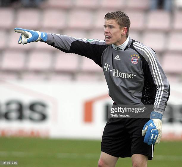 Goalkeeper Thomas Kraft of Bayern II shouts during the 3Liga match between SpVgg Unterhaching and Bayern Muenchen II at the Generali Sportpark on...
