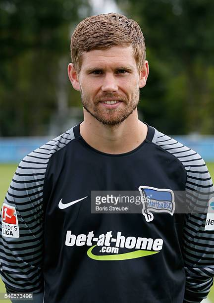 Goalkeeper Thomas Kraft of Hertha BSC poses during the Hertha BSC Team Presentation on July 12 2016 in Berlin Germany