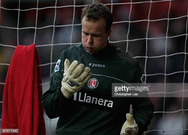 Goalkeeper Thomas Myhre of Charlton Athletics spits on his gloves during the Barclays Premiership match between Charlton Athletic and Middlesbrough...
