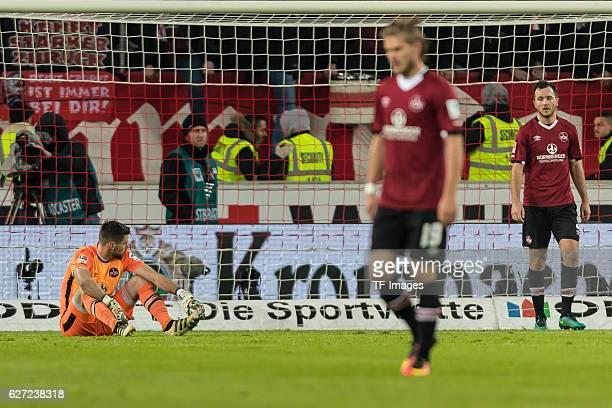 goalkeeper Thorsten Kirschbaum of Nuernberg Rurik Gislason of Nuernberg Even Hovland of Nuernberg disappointed after the second Bundesliga match...