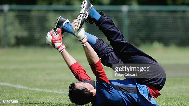 Goalkeeper Thorsten Kirschbaum of TSG 1899 Hoffenheim practices gymnastics during a training session at their training camp on July 2, 2008 in...