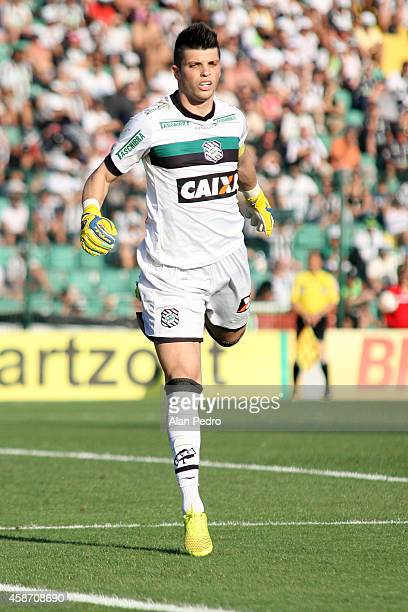 Goalkeeper Tiago Volpi of Figueirense during a match between Figueirense and Chapecoense for the Brazilian Series A 2014 at Orlando Scarpelli Stadium...