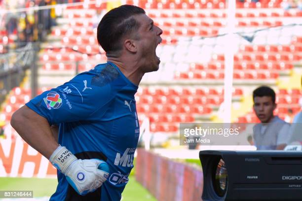 Goalkeeper Tiago Volpi of Queretaro celebrates during the 4th round match between Queretaro and Morelia as part of the Torneo Apertura 2017 Liga MX...