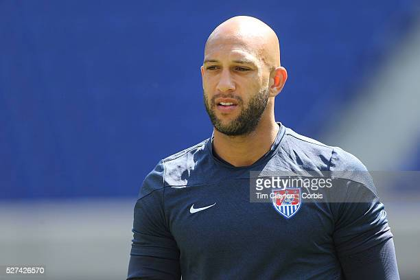 Goalkeeper Tim Howard during the US Mens National Team training at Red Bull Arena in preparation for Sunday's game against Turkey as they prepare for...