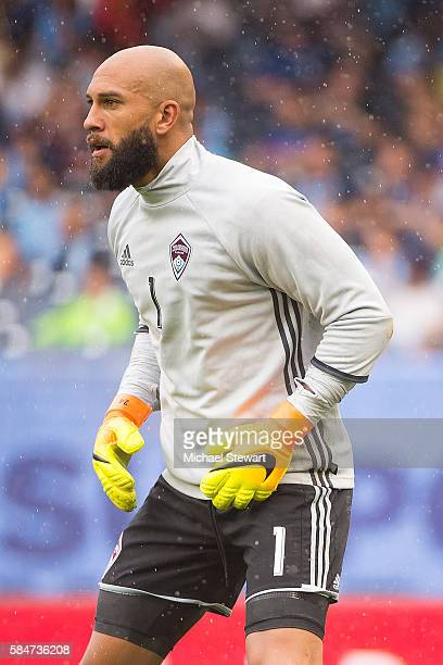 Goalkeeper Tim Howard of Colorado Rapids during warmups before the match vs New York City FC at Yankee Stadium on July 30 2016 in New York City New...