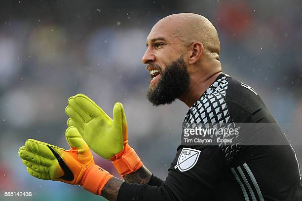 Goalkeeper Tim Howard of Colorado Rapids in action during the NYCFC Vs Colorado Rapids regular season MLS game at Yankee Stadium on July 30 2016 in...