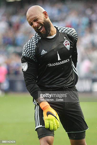 Goalkeeper Tim Howard of Colorado Rapids reacts after conceding another goal during his sides 51 loss during the NYCFC Vs Colorado Rapids regular...