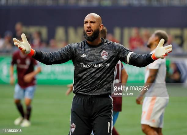 Goalkeeper Tim Howard of Colorado Rapids reacts in the second half against the Atlanta United at MercedesBenz Stadium on April 27 2019 in Atlanta...