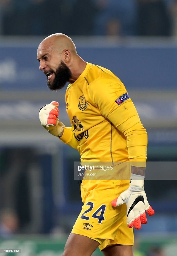 Goalkeeper Tim Howard of Everton celebrates as his team go 3-0 ahead during the UEFA Europa League Group H match between Everton and VFL Wolfsburg on September 18, 2014 in Liverpool, United Kingdom.