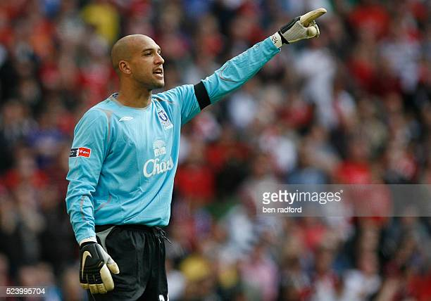 Goalkeeper Tim Howard of Everton during the FA Cup Semi Final match between Manchester United and Everton at Wembley Stadium in London England UK