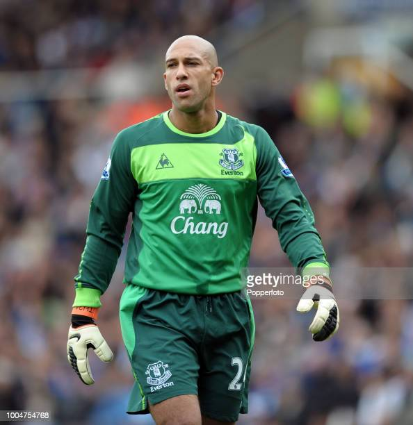 Goalkeeper Tim Howard of Everton in action during the Barclays Premier League match between Birmingham City and Everton at St Andrews in Birmingham...