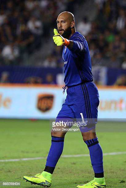 Goalkeeper Tim Howard of the Colorado Rapids gives a thumbs up to his defense during the second half of the MLS match against the Los Angeles Galaxy...