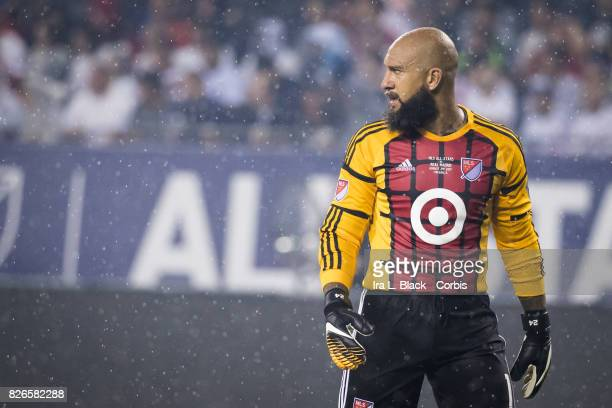Goalkeeper Tim Howard of the MLS AllStars looks intense in the rain at the start of the MLS AllStar match between the MLS AllStars and Real Madrid at...