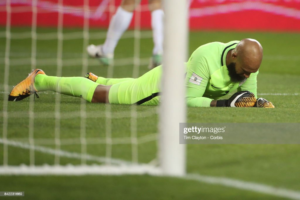 Goalkeeper Tim Howard #1 of the United States after conceding a goal during the United States Vs Costa Rica CONCACAF International World Cup qualifying match at Red Bull Arena, Harrison, New Jersey on September 01, 2017 in Harrison, New Jersey.