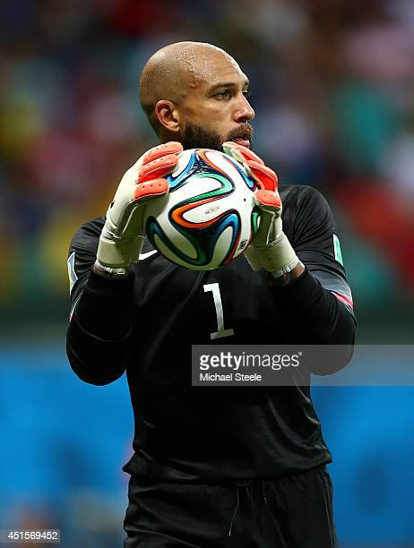 Goalkeeper Tim Howard of the United States controls the ball during the 2014 FIFA World Cup Brazil Round of 16 match between Belgium and the United...