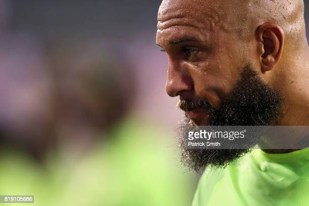 Goalkeeper Tim Howard of the United States looks on after defeating El Salvador 20 during the 2017 CONCACAF Gold Cup Quarterfinal at Lincoln...