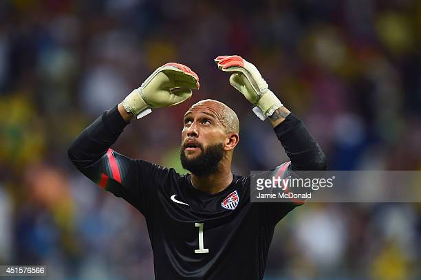 Goalkeeper Tim Howard of the United States looks on during the 2014 FIFA World Cup Brazil Round of 16 match between Belgium and the United States at...