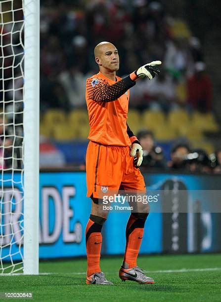 Goalkeeper Tim Howard of the USA during the 2010 FIFA World Cup South Africa Group C match between England and USA at the Royal Bafokeng Stadium on...