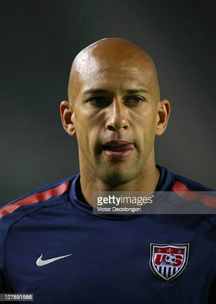 Goalkeeper Tim Howard of the USA warms up prior to the International Friendly match against Costa Rica at The Home Depot Center on September 2 2011...