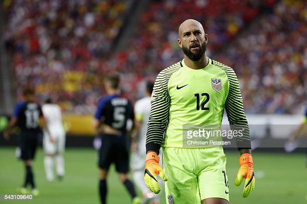 Goalkeeper Tim Howard of United States walks on the pitch during the 2016 Copa America Centenario third place match against Colombia at University of...