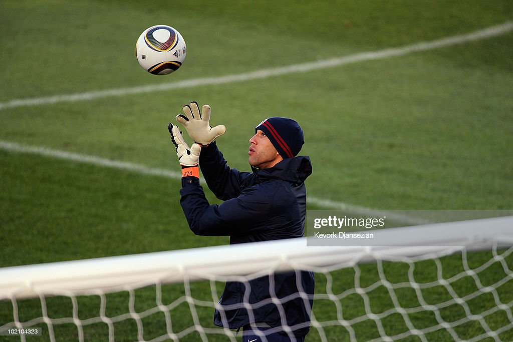Goalkeeper Tim Howard of US national football team warms up during training session on June 15, 2010 in Pretoria, South Africa. Howard has been cleared to play when US will play their next World Cup Group C match against Slovenia on Friday June 18, 2010.