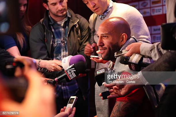 Goalkeeper Tim Howard talking with the media at the US Men's National Team media day at the Marriott Marquis Times Square New York USA 30th May 2014...