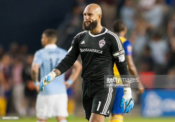 Goalkeeper Tim Howard walks back to his position during the MLS match between Sporting Kansas City and the Colorado Rapids Sunday April 9th 2017 at...