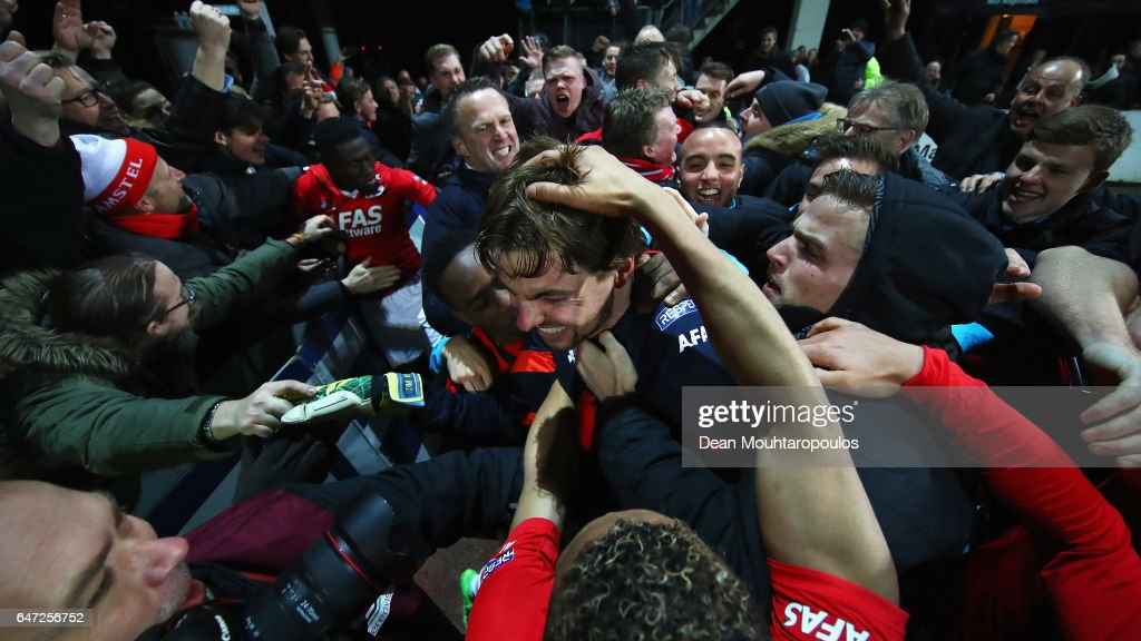 Goalkeeper, Tim Krul of AZ Alkmaar celebratres with team mates after saving the final penalty in the shoot out to win the Dutch KNVB Cup Semi-final match between AZ Alkmaar and SC Cambuur held at AFAS Stadion on March 2, 2017 in Alkmaar, Netherlands.