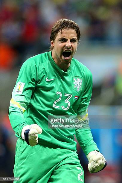 Goalkeeper Tim Krul of the Netherlands celebrates after making a save on a penalty kick by Bryan Ruiz of Costa Rica during a shootout in the 2014...