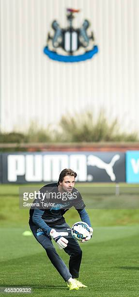 goalkeeper Tim Krul on the training pitch during a Newcastle United Training Session at the Newcastle United Training Centre on September 12 in...