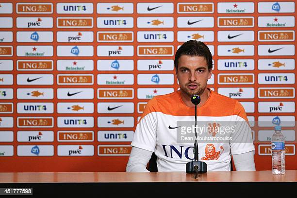 Goalkeeper Tim Krul speaks to the media during the Netherlands press conference during the 2014 FIFA World Cup Brazil held at the Estadio Jose Bastos...