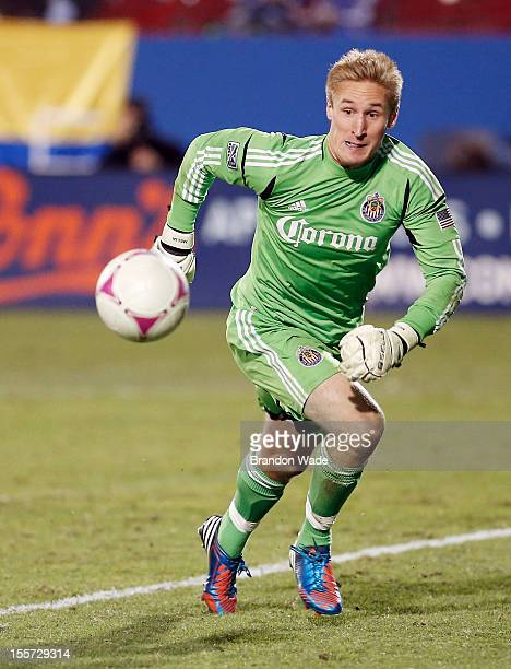 Goalkeeper Tim Melia of Chivas USA chases the ball down during the second half of a soccer game against FC Dallas at Pizza Hut Park on October 28...