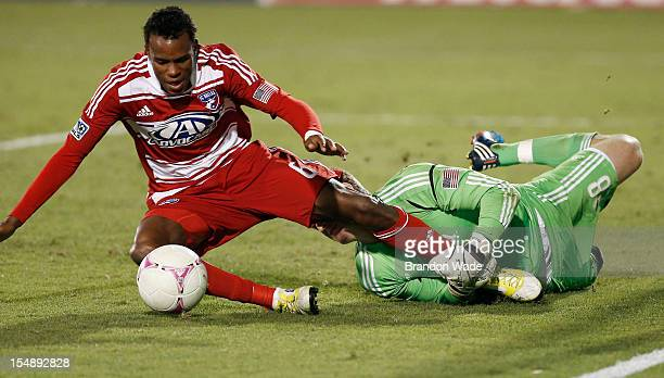 Goalkeeper Tim Melia of Chivas USA defends against Jackson of FC Dallas during the second half of a soccer game at Pizza Hut Park on October 28 2012...