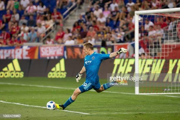 Goalkeeper Tim Melia of Sporting KC rkicks ball during regular MLS game against Red Bulls at Red bull arena Red Bulls won 3 2