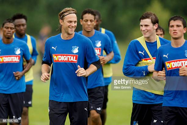 Goalkeeper Timo Hildebrand jogs during a training session of 1899 Hoffenheim during a training camp on June 30, 2009 in Stahlhofen am Wiesensee,...