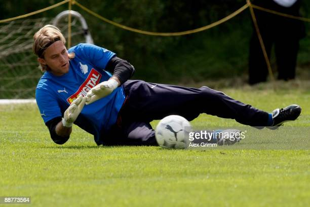 Goalkeeper Timo Hildebrand makes a save during a training session of 1899 Hoffenheim during a training camp on July 1, 2009 in Stahlhofen am...