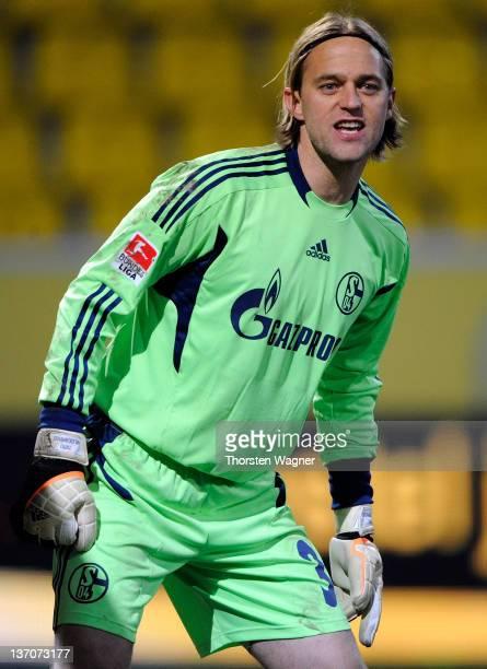 Goalkeeper Timo Hildebrand of Schalke looks on during the International friendly match between FC Schalke 04 and Vitesse Arnham at Tivoli Stadium on...