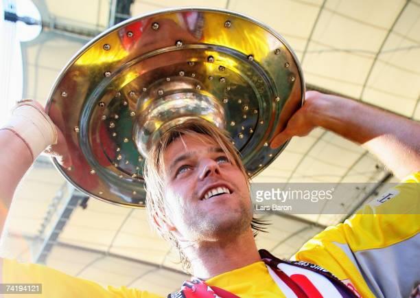 Goalkeeper Timo Hildebrand of Stuttgart celebrates after winning the championship during the Bundesliga match between VFB Stuttgart and Energie...