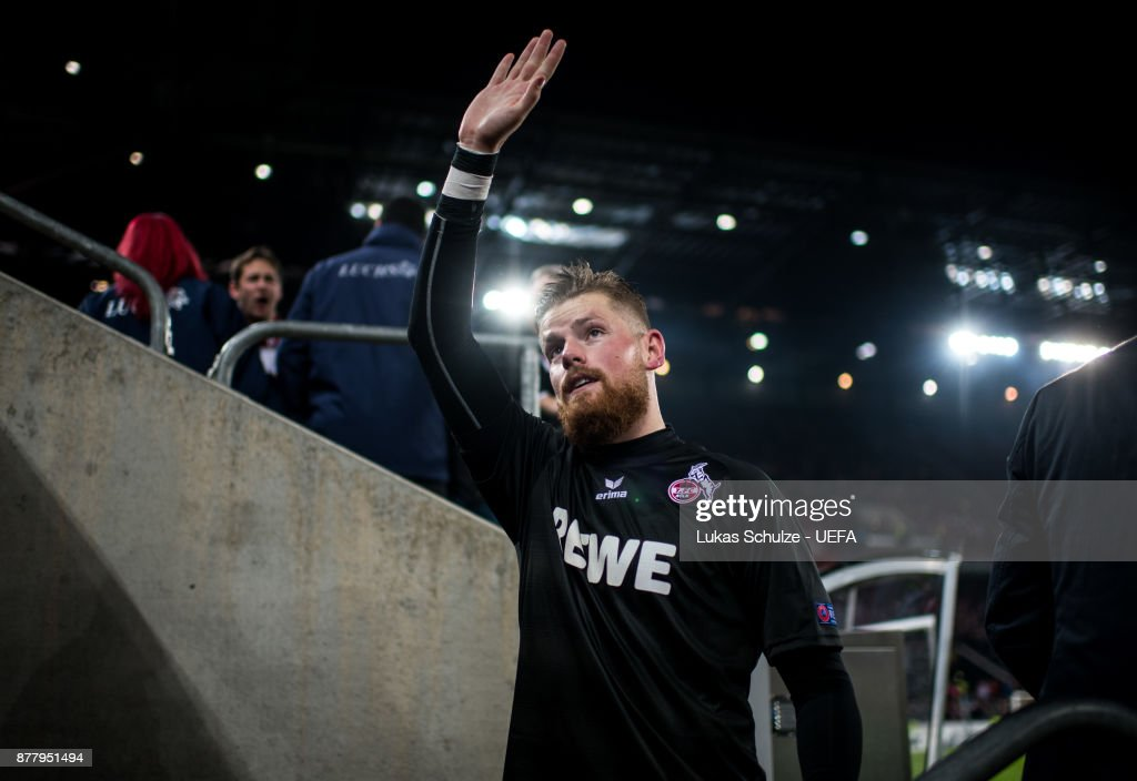 Goalkeeper Timo Horn of Koeln celebrates his win after the UEFA Europa League group H match between 1. FC Koeln and Arsenal FC at RheinEnergieStadion on November 23, 2017 in Cologne, Germany.