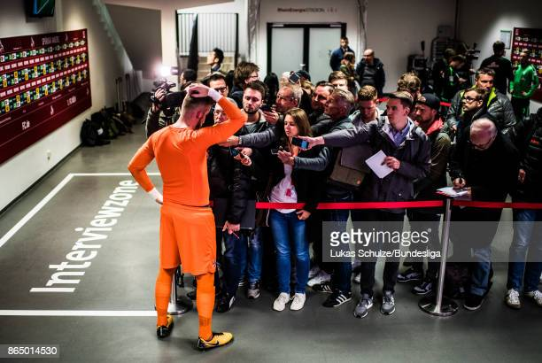 Goalkeeper Timo Horn of Koeln gives interviews in the mixed zone after the Bundesliga match between 1. FC Koeln and SV Werder Bremen at...