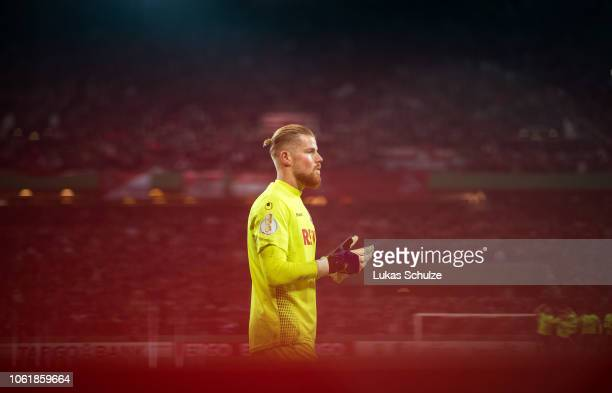 Goalkeeper Timo Horn of Koeln is focused during the penalty shoot out of the DFB Cup match between 1. FC Koeln and FC Schalke 04 at...